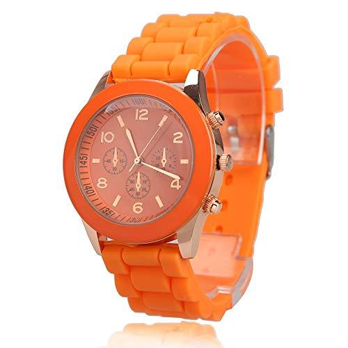 Reloj para Niños Reloj de pulsera de cuarzo de la muchacha del muchacho con el caramelo de la jalea del silicio del color correa de reloj del dial redondo del reloj de Estudiantes regalo de los amante