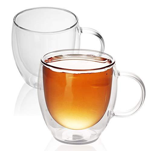 Intirilife 2X Doppelwandiges Thermo Glas Set in 100-200ml – Mundgeblasen isoliert für Latte Macchiato, als Teeglas oder Kaffeeglas Spülmaschinen geeignet mit Henkel