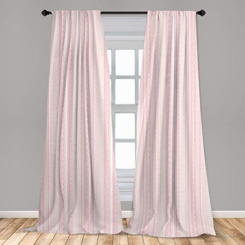 """Lunarable Pale Pink Curtains, Vertical Borders Floral Little Hearts Lines Zigzag Chevron, Window Treatments 2 Panel Set for Living Room Bedroom Decor, 56"""" x 84"""", White Pink"""