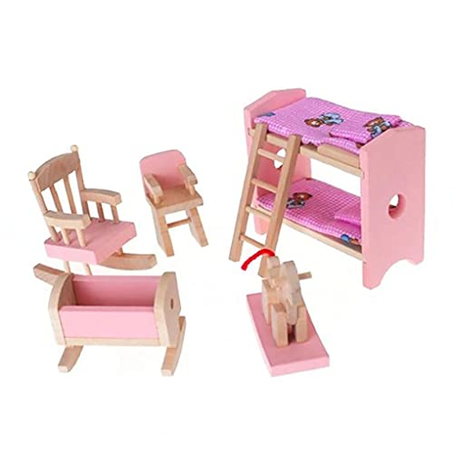 Miniature Wooden Furniture Set Include Bunk Bed Chair Cradle Kid Children Gift Doll House Mini Furniture Toy Baby Toys