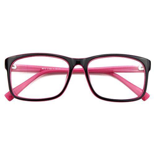 CGID CN12 Brille Extra Schmaler Rahmen! Slim Rechteck Nerd Clear Brille, A Schwarz Rosa,