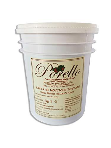 Porello Pasta Di Nocciole Pura 100% - Tonda Gentile Trilobata Chiara - Per Gelato e Pasticceria (1KG)