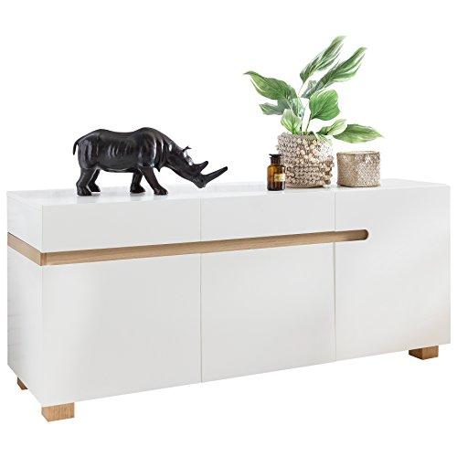 Wohnling Sideboard Scandi 160 x 50 x 70 cm MDF-hout Scandinavisch wit mat commode | Design dressoir met 3 deuren zonder grepen | Moderne multifunctionele commode