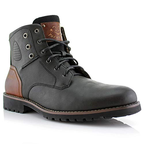 Polar Fox Homer MPX806036 Mens Casual Work Lace Up Classic Motorcycle Combat Boots - Black, Size 10.5