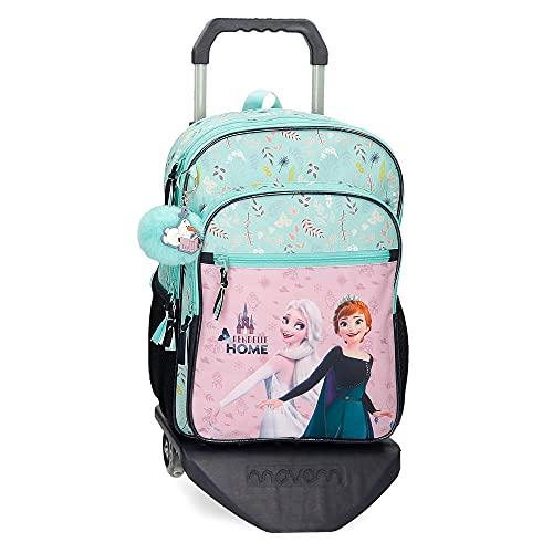 Disney Frozen Arendelle is Home Mochila Escolar Doble Compartimento con Carro Azul 30x40x13 cms Poliéster 15,6L