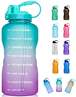 Giotto Large 1 Gallon/128oz (When Full) Motivational Water Bottle with Time Marker & Straw, Leakproof Tritan BPA Free for Fitness, Gym and Outdoor Sports-Green/Pink Gradient (B083FJ8FSZ)   Amazon price tracker / tracking, Amazon price history charts, Amazon price watches, Amazon price drop alerts