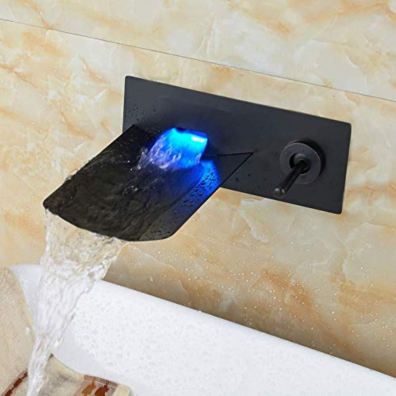 DOMOUDOKüchenarmaturen Waschbeckenarmaturen Wandmontage Waschbecken Badewanne Wasserhahn Einhand Led Wasserfall Auslauf Mischbatterie l Eingerieben Bronze
