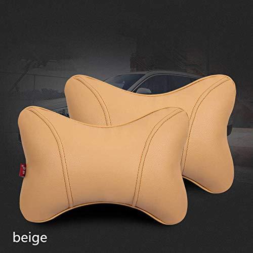 Der Hals mit neuen Lederautositzkissen Kissen Knochen Nackenkissen Kopfstütze@Beige