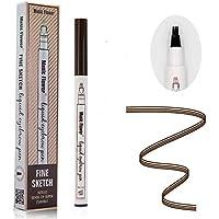 Tattoo Liquid Eyebrow Pencil con cuatro puntas de tenedor Impermeable y duradero Lápiz de cejas Ink Sketch Eyebrow Pen para Maquillaje Natural de Ojos(#1 castaña)