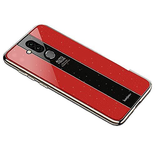 Miagon Überzug Hülle für Huawei Mate 20 Lite,Glänzend Glitzer Überzug Plating Rahmen Ultra Dünn Hart PC Handyhülle Schutzhülle Tasche Weich Case Bumper für Huawei Mate 20 Lite,Rot