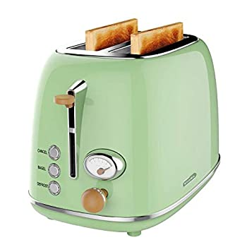 2 Slice Toaster KitchMix Retro Stainless Steel Bread Toasters with 6 Settings 1.5 In Extra Wide Slots Bagel/Defrost/Cancel Function Removable Crumb  Olive-green