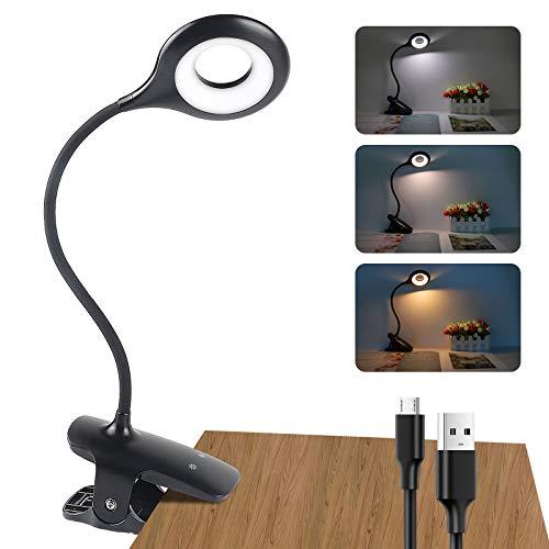 Leselampe Buch Klemme, 28 LEDs Klemmleuchte Led Bett USB Wiederaufladbar, 3 Farben mit 3 Helligkeit klemmlampe Schreibtischlampe, 360° Flexibel Augenschutz Dimmbare Bettlampe für Nachttisch Bett