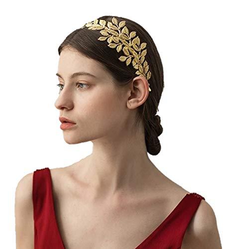 kuros カチューシャ 髪飾り ヘアアクセサリー ゴールド シルバー 葉 オリーブの葉 ウェディング パーティー 披露宴 発表会 成人式 (ゴールド)