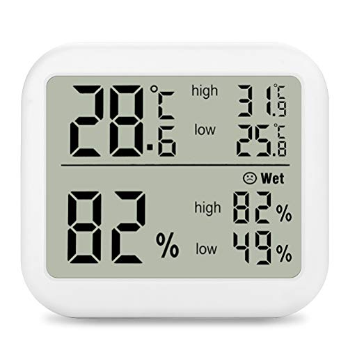 Indoor Digital Thermometer Hygrometer, Accurate Room Temperature Gauge Humidity Monitor with Alarm Clock - Easy to Read, Max/Min Records, LCD Display for Home Office