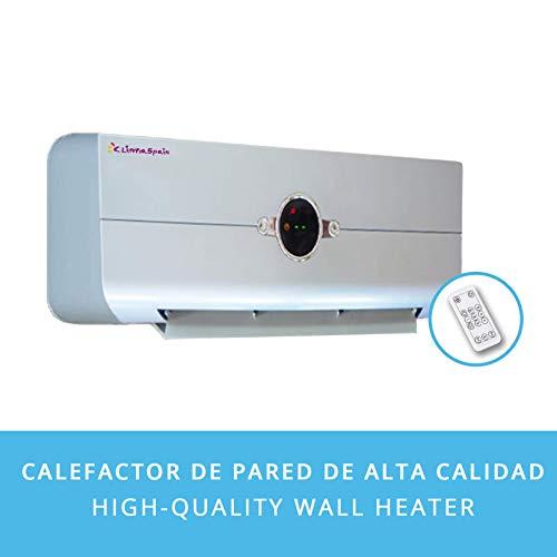 Calefactor Aire Caliente de Pared Easy2020 Plata · Split Termo-Ventilador Baño Pared CALENTAMIENTO RÁPIDO · Pantalla Digital LED (4 Colores) · Oscilación, Mando a Distancia, Temporizador · 1000W/2000W