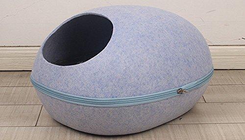 UMALL Katzenhöhlen unde Kissen In Und Outdoor Katzenkorb zum Schlafen Leicht und tragbar Kuschelhöhle Material in Filz-Optik (Blau, Egg Style = 48 * 38* 36cm)