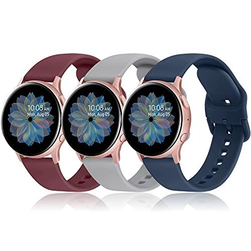 AK 20mm Cinturino per Samsung Galaxy Watch Active 2 40mm 44mm, Cinturino Sportiva in Silicone per Samsung Galaxy Watch 3 41mm/ Galaxy Watch Active 40mm/ 42mm/ Gear S2 Classic(Pack-3)