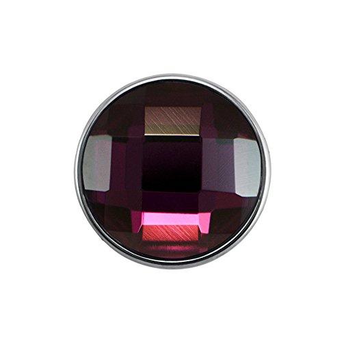 Preisvergleich Produktbild Quiges Damen Click Button 18mm Chunk Versilbert Lila Geschliffen für Druckknopf Zubehör