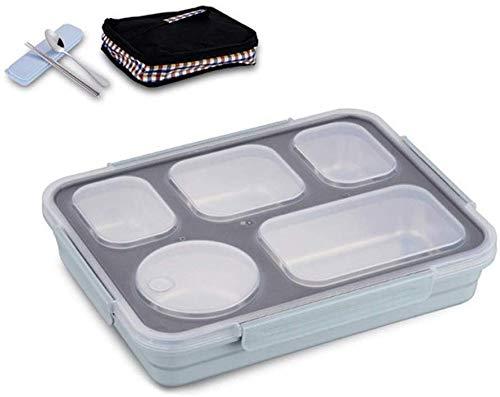 Pkfinrd Lunch BoxStudent Wit-kraag Compartiment Lekt geen voedsel of Meng Milieuvriendelijke Bento Boxen met Bestek China Blauw 5 Set