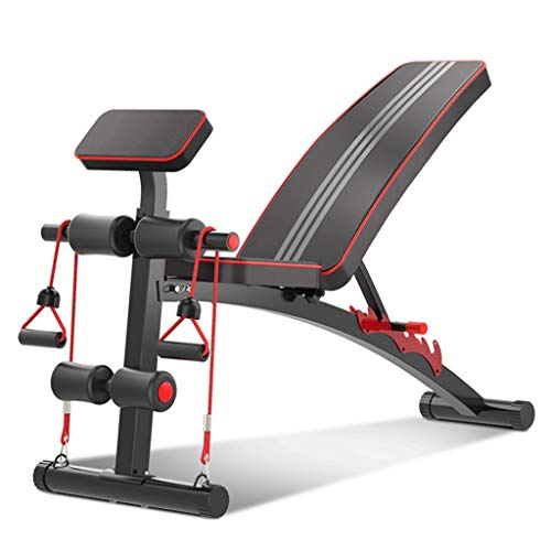 Lucky Star Home Gym Regolabile Panca Pieghevole banco di Allenamento Sit Up AB Incline ABS Flat Bench Press Pesi Mosca con 2 Corda Fitness