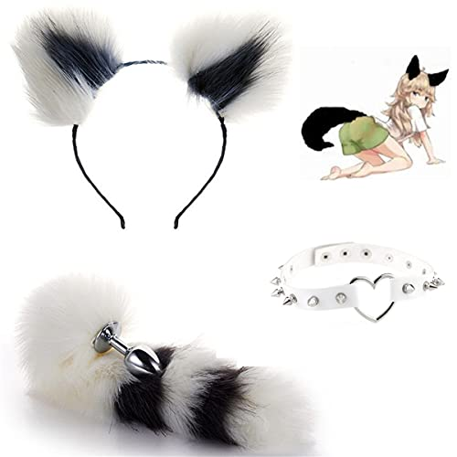 Cola de lobo suave P-l--g y orejas de felpa diadema y picos remache gargantilla Collar Cosplay disfraz de Halloween