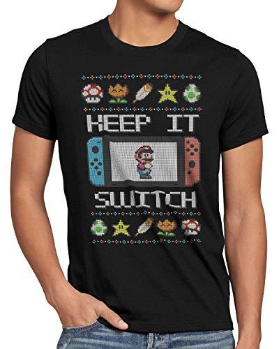 style3 Keep it Switch Ugly Sweater Herren T-Shirt lite x-Mas Pulli Weihnachtsbaum, Größe:S