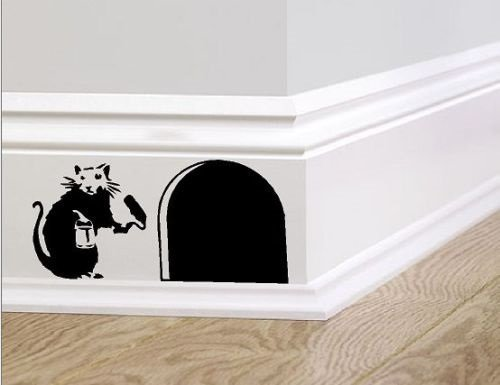 Banksy skirting board wall art bedroom living room lounge wall decal (Black, 20cm) by UK_SIGN_SOLUTIONS
