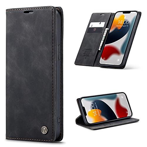 SCRENDY Funda Piel para iPhone 11 Pro MAX 6.5', Carcasa Libro con Tapa de Cuero Piel Wallet Case Flip Cover con Kickstand, Hebilla Magnetica, Ranuras para Tarjetas, Negro