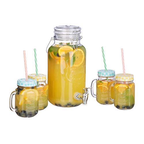 Relaxdays, klar Getränkespender Set, 4 l, 4 Gläser, Zapfhahn, Retro Saftspender Gastro mit Strohhalmen, Limonadenspender, Standard