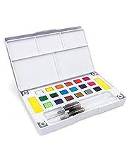 مجموعة ألوان مائية بلون موحد، مكونة من 18 لونًا مع طقم فرش للرسم المائي، لوازم فنية