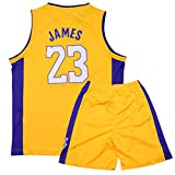 Sokaly Ragazzi Adulto Chicago Bulls Jorden # 23 Curry#30 James#23 Boston Pantaloncini da Basket Jersey Set di Abbigliamento Sportivo Maglie Top e Shorts (altezza 100-180cm) (Giallo#Lakers, M(bambino))