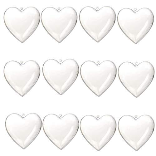 ACMEDE 12 Pezzi Abbellimento Cuore a Forma In Pallina Trasparente per Casa Bomboniere Compleanno Festa,6.5 * 6.3 * 3.7cm