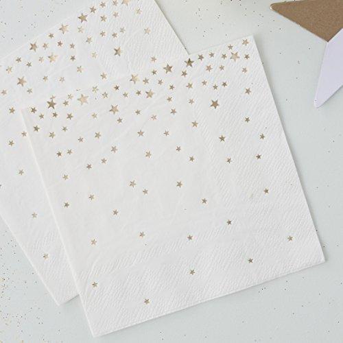 Ginger Ray Party-Servietten, goldfoliert, Sterne, metallisch, 20 Stück