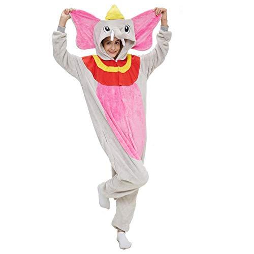 Schlafanzug Winter Frauen Männer Unisex Adult Cute Cartoon Onesie Tier Pyjamas Einhorn Stich Feuer Drache Kigurumi Flanell Nachthemd Nachtwäsche Jumpsuit-rosa Dumbo_S.