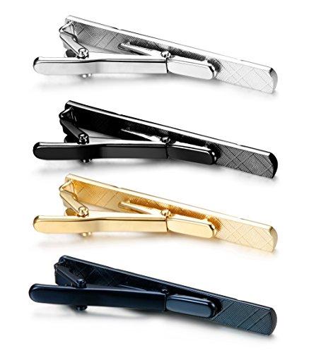 4 Pcs Tie Clips for Men Tie Bar Clip Set for Regular Ties Necktie Wedding Business Clips