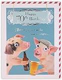 Clintons: biglietto di auguri per il 70° compleanno, motivo: maiale fotografico con birra, 11 x 15...