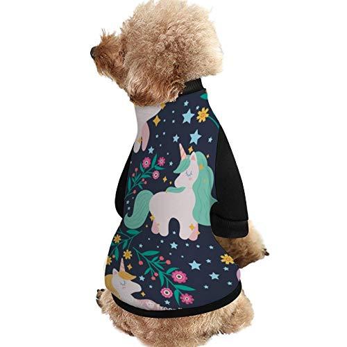 Lplpol Camisas de perro de Navidad suave unicornio patrón pijamas con cachorros de perro mascotas cachorros abrigos - XM006