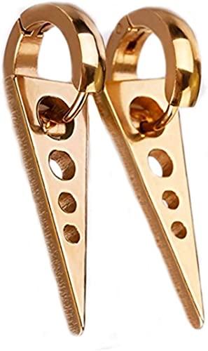 LiuliuBull L - Pendientes de titanio para hombre y mujer, unisex, diseño de triángulo, color dorado