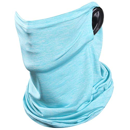 JPGO Seamless Bandana Cooling Face Cover Running Neck Gaiter Ear Loops Breathable Headband Lightweight Balaclava Scarf for Dust Wind Cycling,Light Blue
