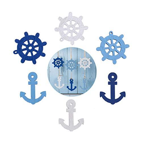 TankerStreet 180 Piezas Decoración de Madera Ancla de Mar Náutica Timón Rueda Colgante Botón de Adorno Color Mezclado para Decoración de Boda Fiesta Scrapbooking DIY Arte Azul Oscuro Azul Claro Blanco