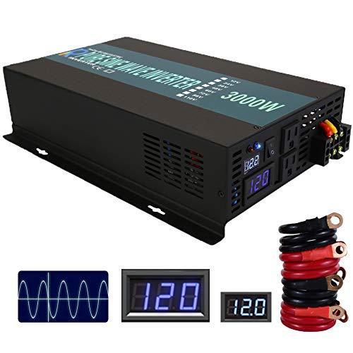 WZRELB 300012FBA Reliable 3000W Pure Sine Wave Solar Power Inverter Off Grid 12V 120V DC AC Power Converter for Home, Black