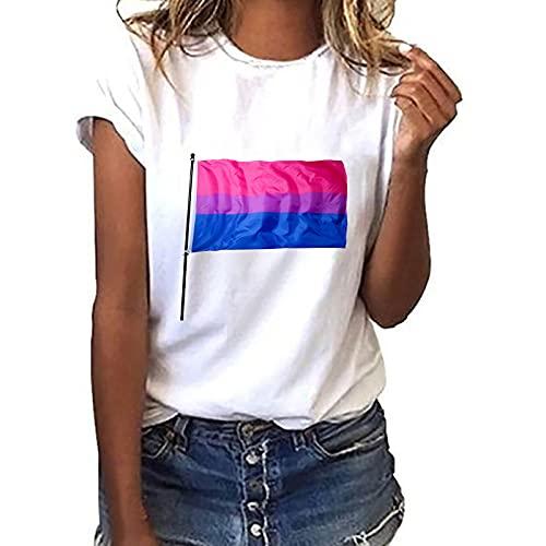 Liably LGBT Flag Print Fresh Sweet Loose - Jersey de cuello redondo de manga corta para verano Rosa. L