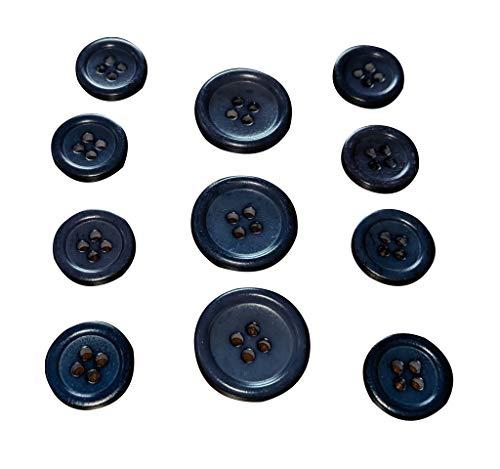 Konak Buttons Set of 11 Premium Marine Navy Blue Buffalo Bone Buttons for Sport Coats, Blazers, and Suit Jackets