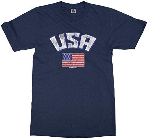 Threadrock Big Boys' USA American Flag Youth T-Shirt M Navy