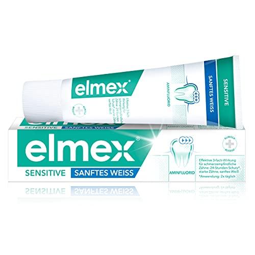 elmex Tandpasta Sensitive zacht wit, 75 ml – tandpasta voor gevoelige tanden, verwijdert verkleuringen zacht en grondig