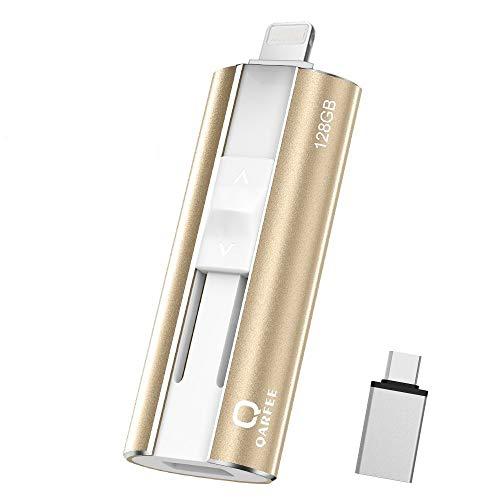 QARFEE Memoria USB 128GB para iPhone Pendrive 4 en 1 USB 3.0...