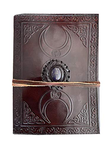 Book of Shadows Third Eye Stone Leather Journal Triple Moon Brown Notebook Unlined Blank Embossed Sketchbook Celtic Strap Writing grimoire Journal Wiccan Personal Diary 7x5 inch