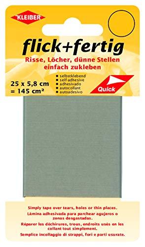 Kleiber 43080 Flick + fertig Selbstklebender Nylon Ausbesserungsflicken, 100% Polyamid, hellgrau, 25 x 5,8 x 0,02 cm , (145 cm²)