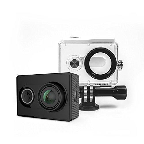 Yi Action, fotocamera con custodia impermeabile in gomma 16MP 2K 1080P/60fps, con 2.4G WiFi Bluetooth 4.0- colore nero
