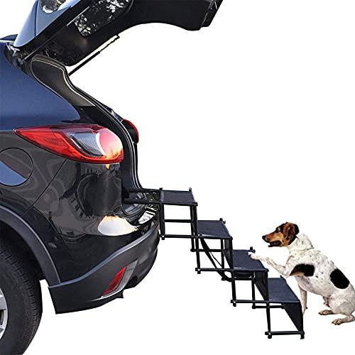HXPainting Escaleras para Perros Plegables para Coche Rampa Antideslizante 4 Escalones con Hebilla Reforzada para Interior, Exterior, Viajando con Perros